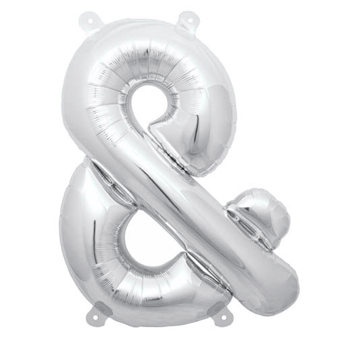"13.5"" Silver Foil Ampersand Balloon"