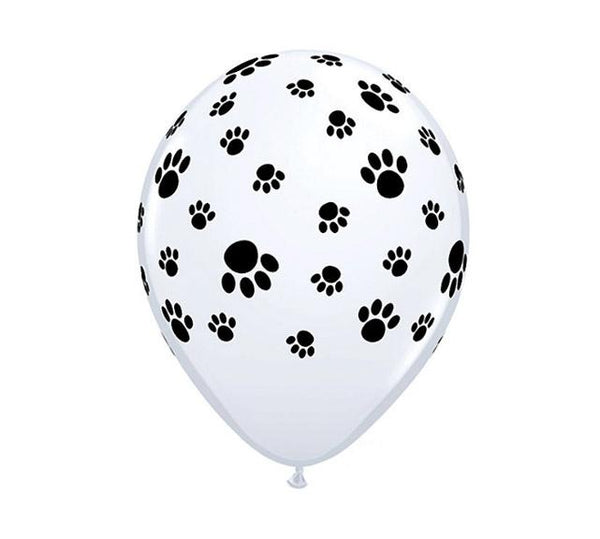 "11"" Latex Balloon, White w/Black Paw Print"
