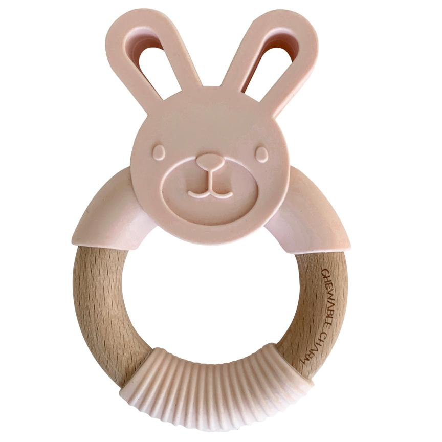 Bunny Silicone and Wood Teether - Ballet Slippers