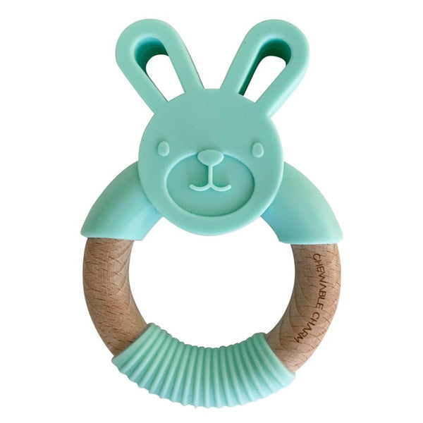 Bunny Silicone and Wood Teether - Mint
