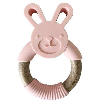 Bunny Silicone and Wood Teether - Peony Pink