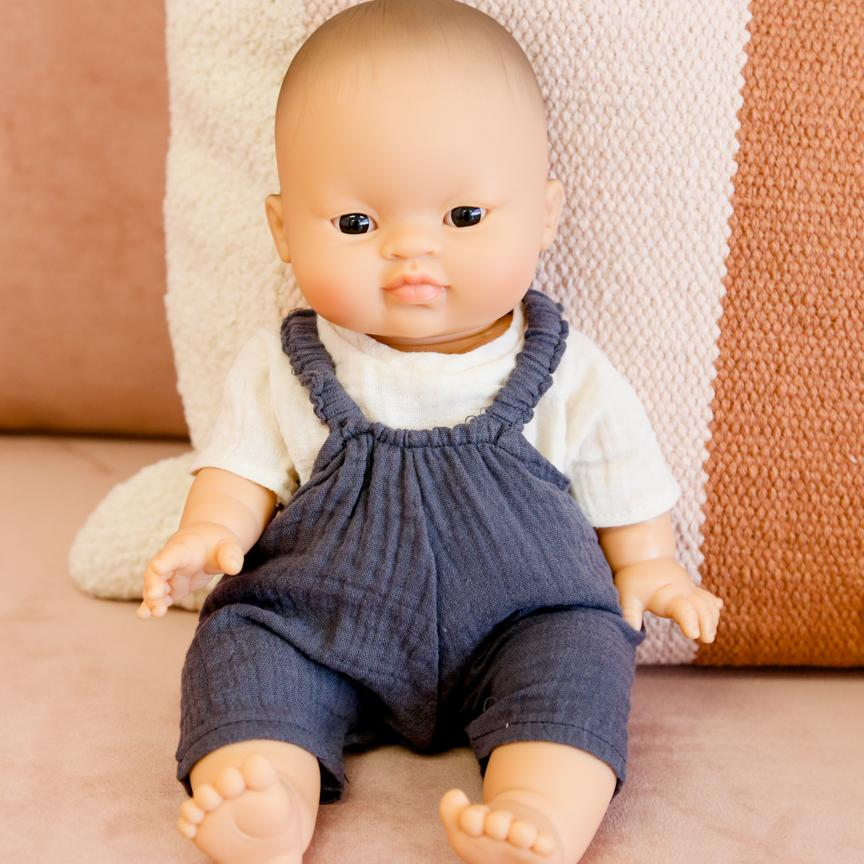 Jules Cotton Double Gauze Overalls and Top, Ecru + Charcoal