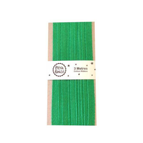 Cotton Herringbone Ribbon - Grass Green