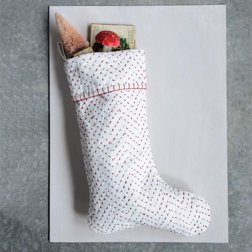 Cotton Kantha Stitch Stocking, Red and White