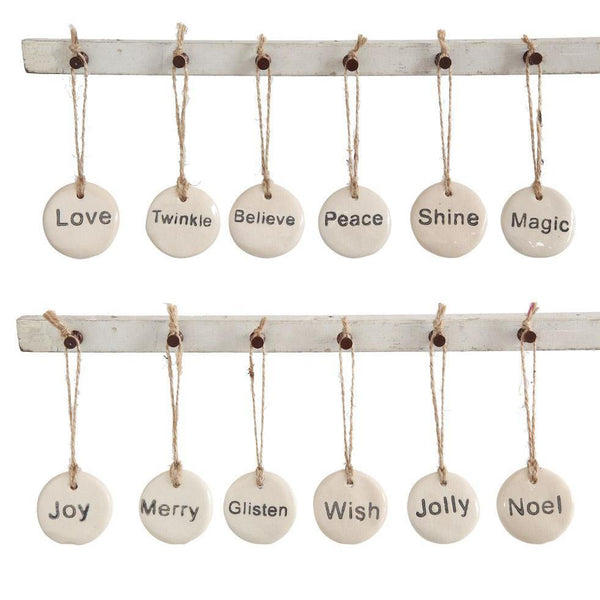 Round Stoneware Holiday Tag Ornament