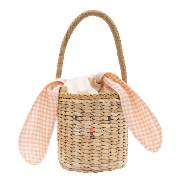 Gingham Bunny Straw Bag