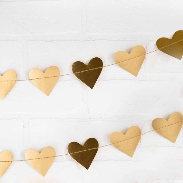 Gold Foil Heart Mini Garland available at Shop Sweet Lulu