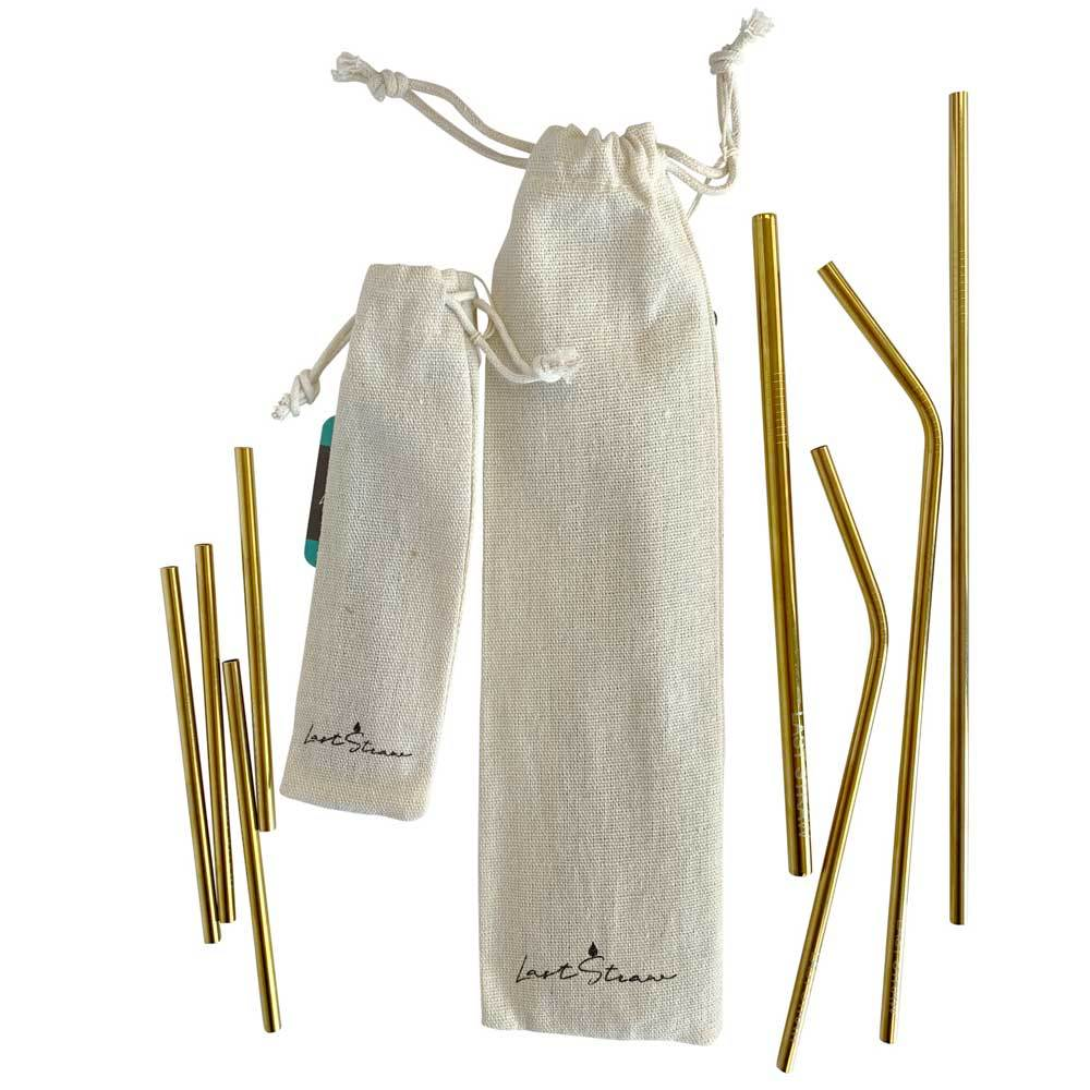 Reusable Stainless Steel Straws: Gold