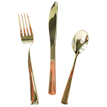 Metallic Gold Plastic Utensils available at Shop Sweet Lulu