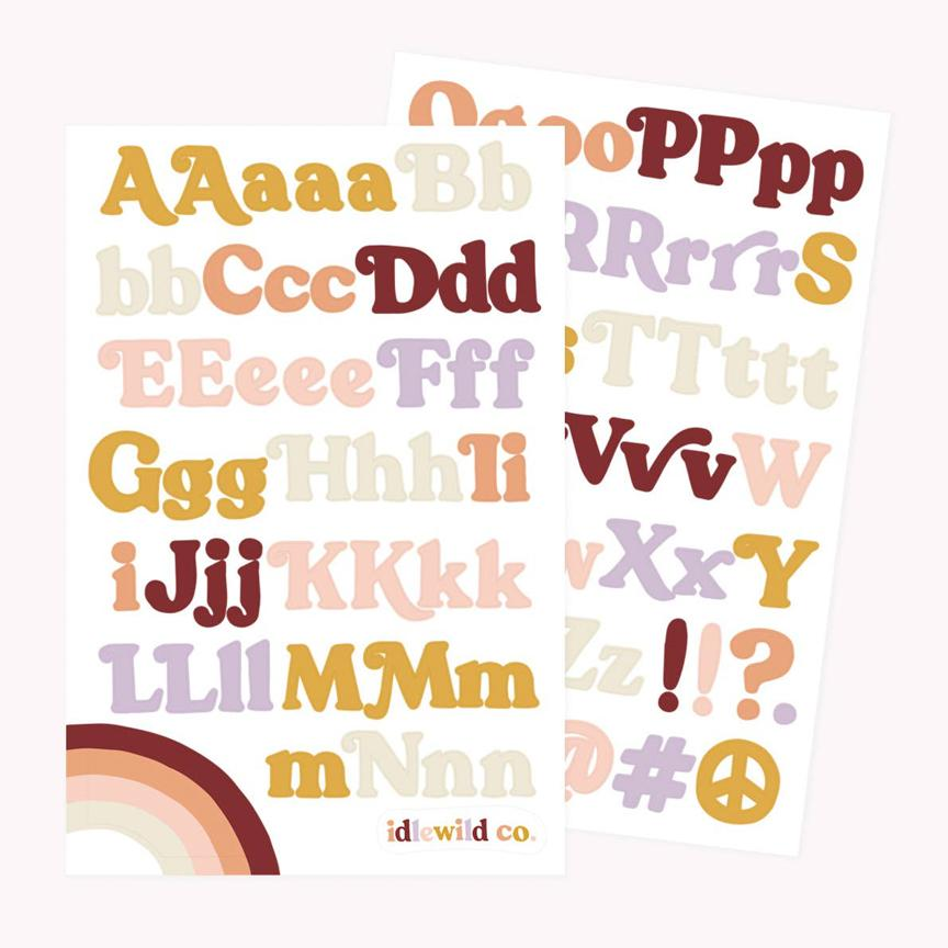 Groovy Alphabet Sticker Sheets