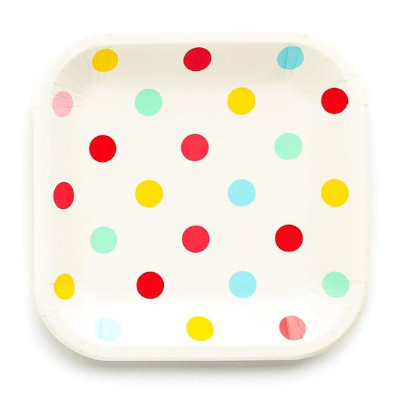 "Hip Hip Hooray 9"" Polka Dot Plates"