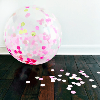 Jumbo Round Confetti Balloon: Lulu Pinks & Gold available at Shop Sweet Lulu