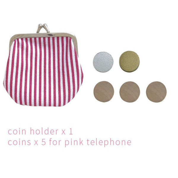 Pink Wooden Play Phone + Coin Purse