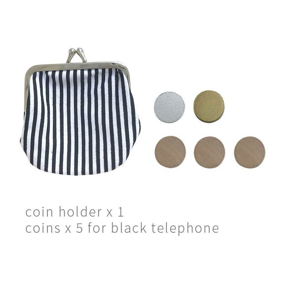 Black Wooden Play Phone + Coin Purse