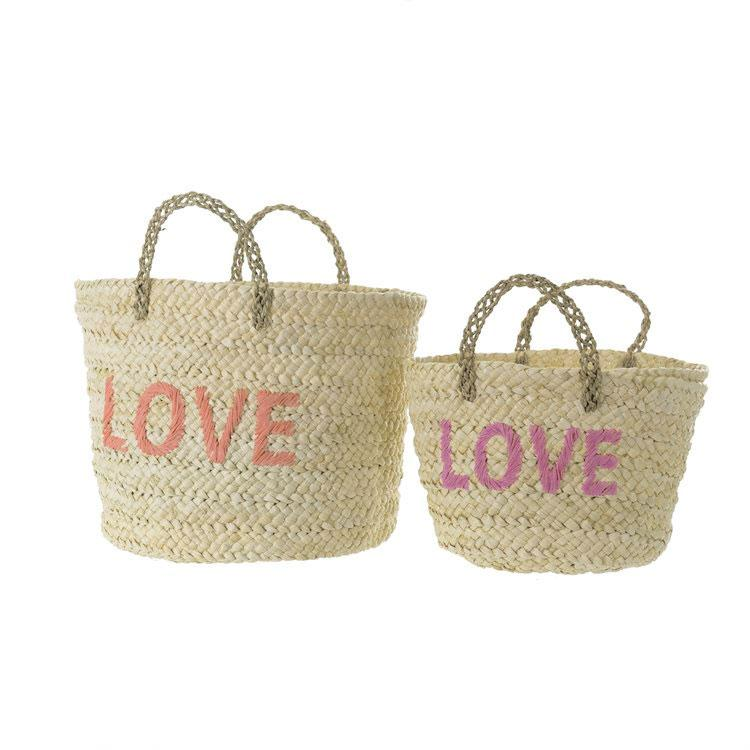 "Set of 2 Woven Baskets, ""LOVE"""