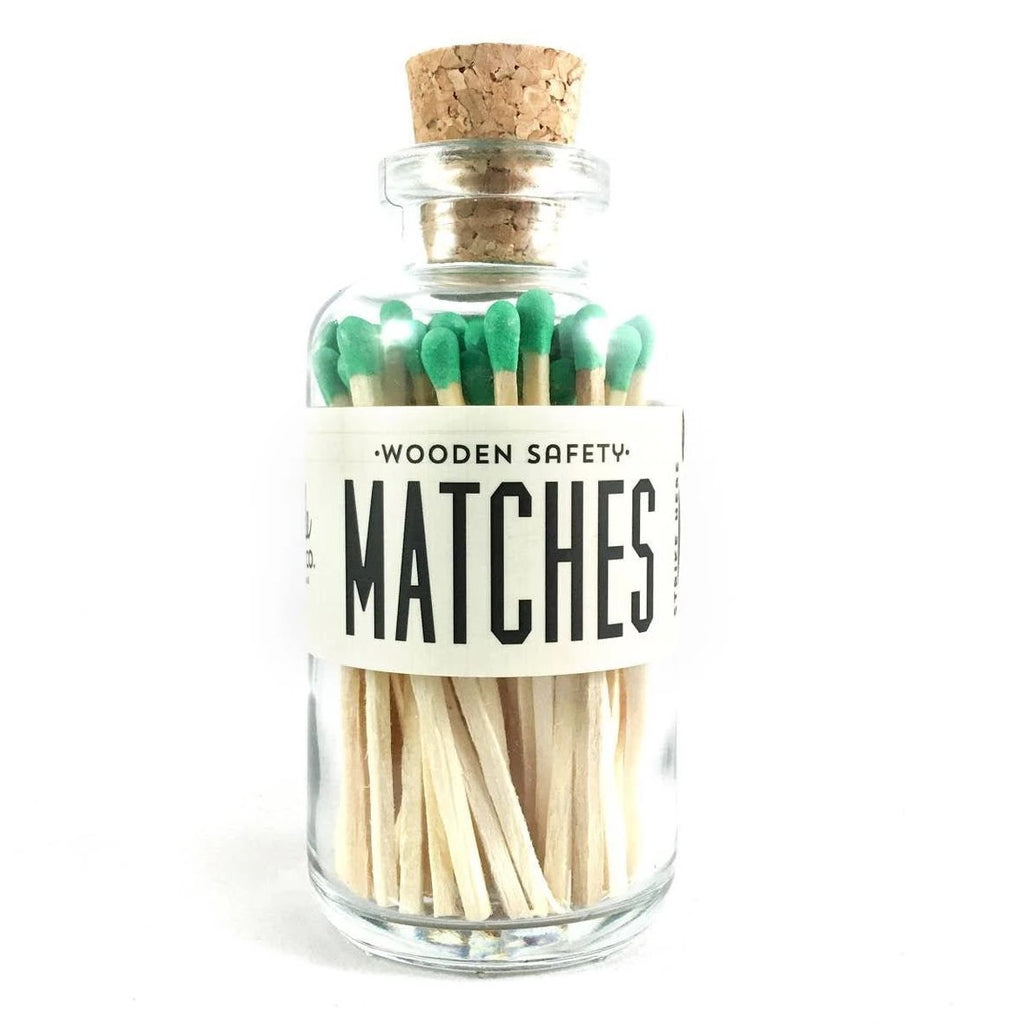 Green Safety Matches in Glass Jar