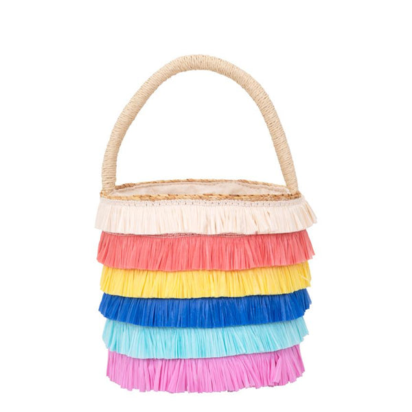 Raffia Fringed Woven Straw Bag