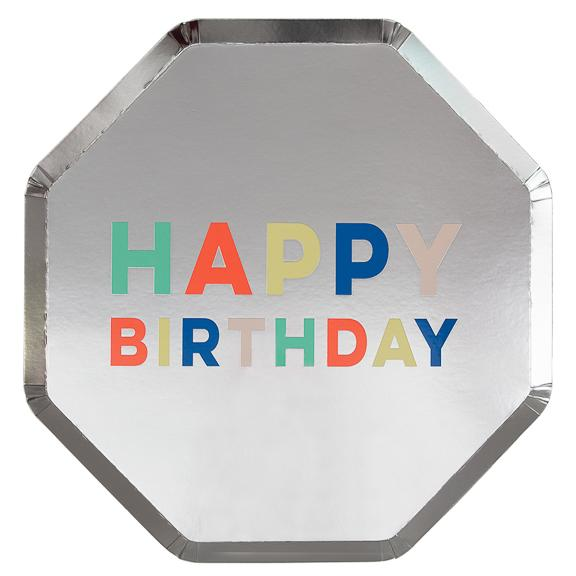 Happy Birthday Silver Dinner Plate