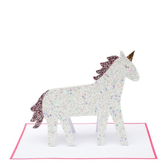 Unicorn Glitter Stand-Up Card