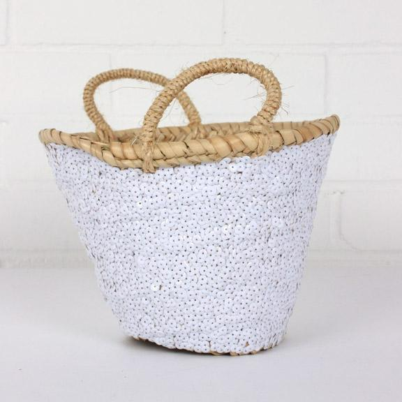 Medium Sequin Basket - White