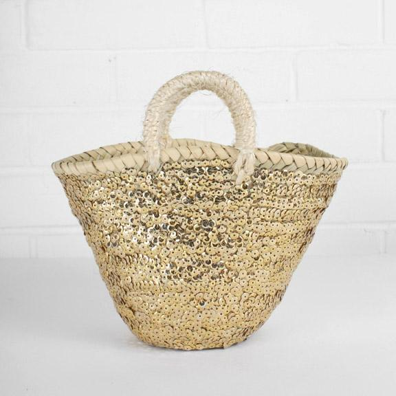 Medium Sequin Basket - Gold