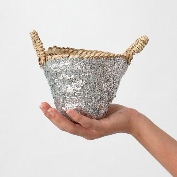 Medium Sequin Basket - Silver