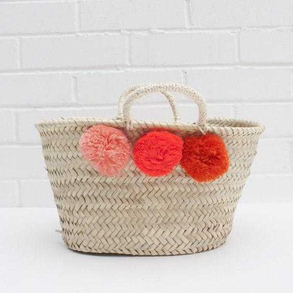 Mini Market Pom Pom Baskets - Orange Ombre