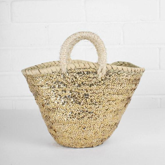 Small Sequin Basket - Gold