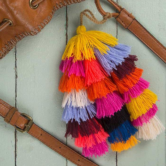 Multicolored Stacked Tassel Tie-On