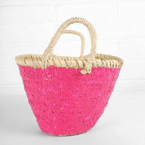 Medium Sequin Basket - Neon Pink