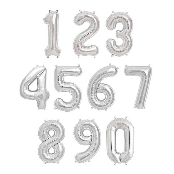 "13.5"" Silver Foil Balloon Number - Shop Sweet Lulu"