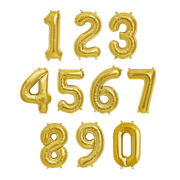 "13.5"" Gold Foil Balloon Number - Shop Sweet Lulu"