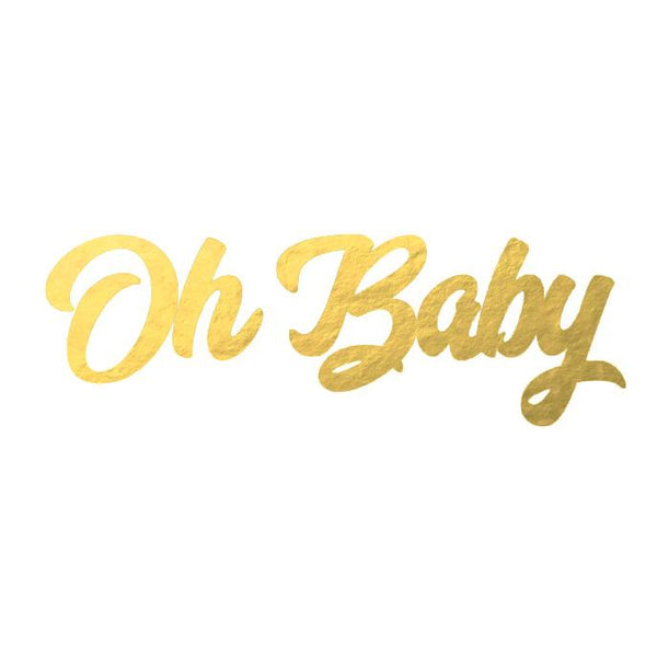 Cursive Oh Baby Banner in Metallic Gold