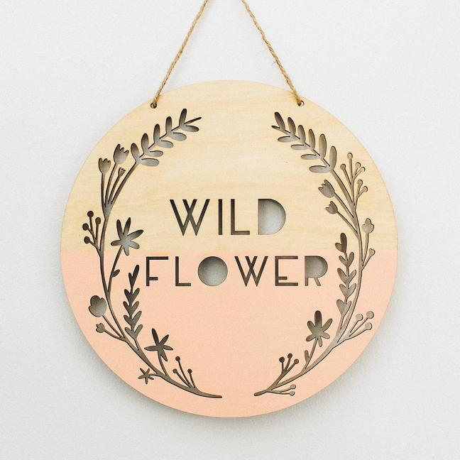 Wild Flower Wooden Wall Hanging, Blush