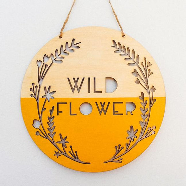 Wild Flower Wooden Wall Hanging, Mustard