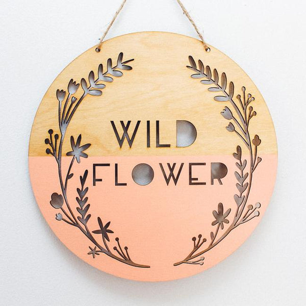 Wild Flower Wooden Wall Hanging, Peachy Coral