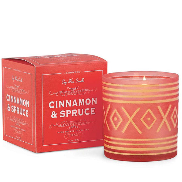 Red Cinnamon & Spruce Holiday Boxed Candle