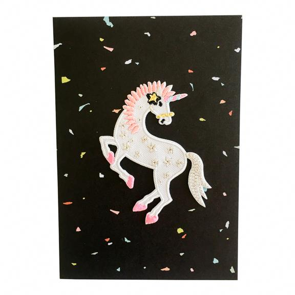 Greeting Card with Iron-On Patch, Prancing Unicorn on Black