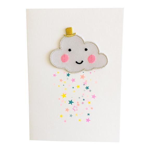 Greeting Card with Iron-On Patch, Happy Cloud