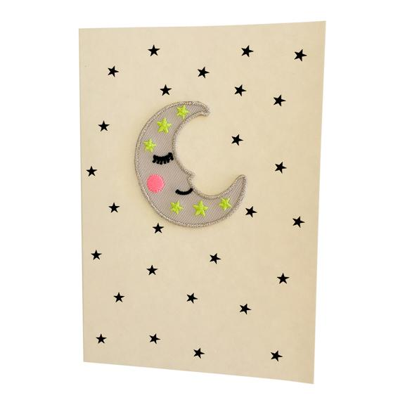 Greeting Card with Iron-On Patch, Happy Moon