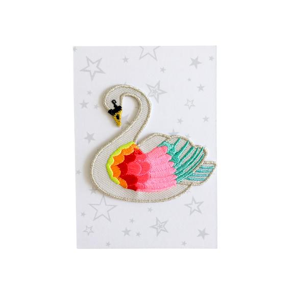 Rainbow Swan Iron-On Patch
