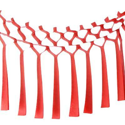 Tissue Streamer Garland, Red