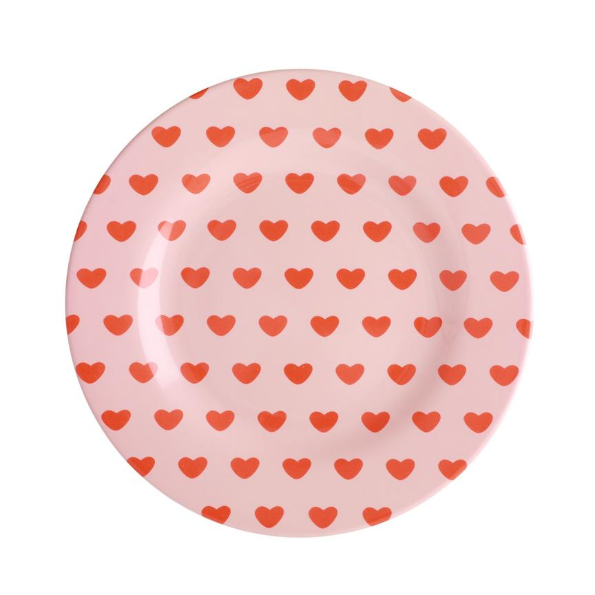Round Melamine Side Plate - Sweet Hearts Print