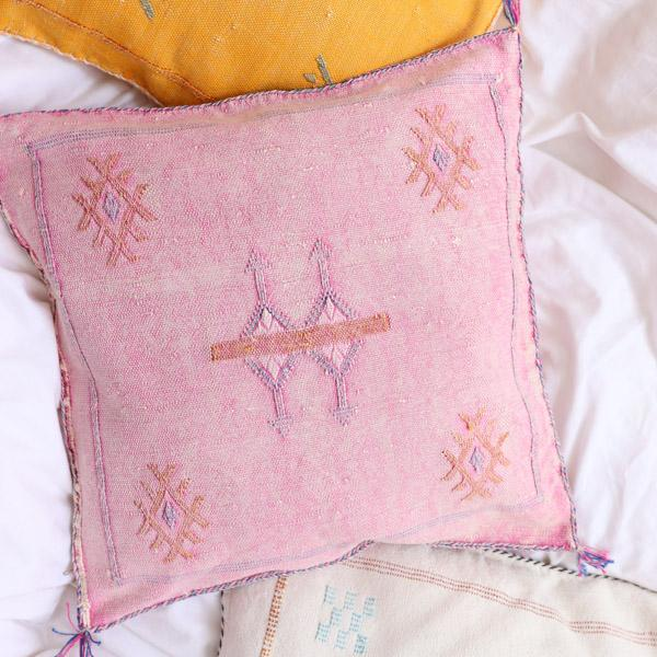 Cactus Silk Pillow Cover, Washed Pink