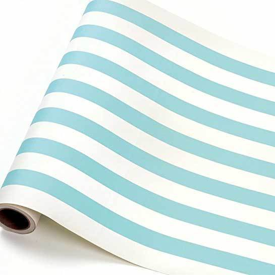 Classic Stripe Table Runner: Aqua/white available at Shop Sweet Lulu