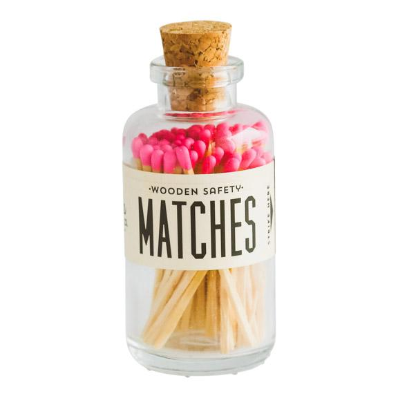 Bright Pink Safety Matches in Glass Jar