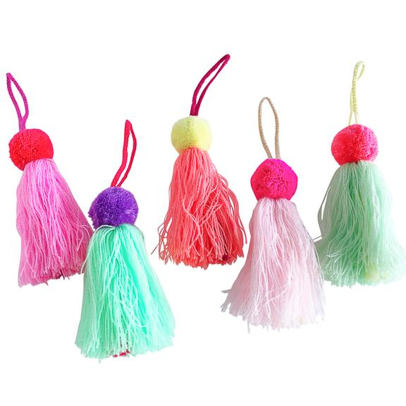 Single Pom Charm with Tassel