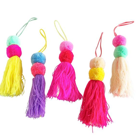 Double Pom Charm with Tassel