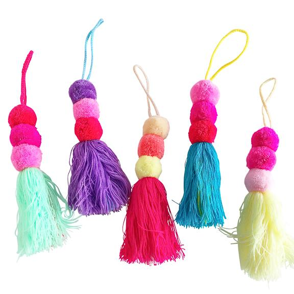 Triple Pom Charm with Tassel