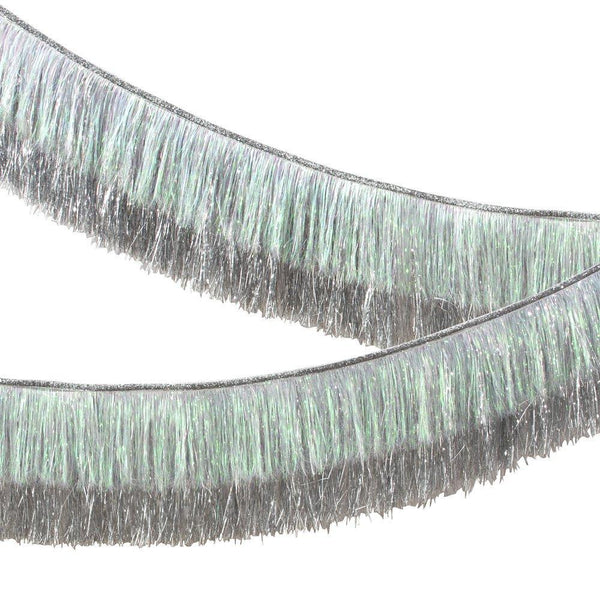 Silver Iridescent Tinsel Fringe Garland